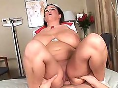 Brunette chubby nurse rides cock in clinic