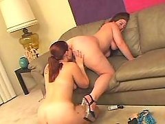 Chubby lesbian licks and dildofucks plump girlfriend