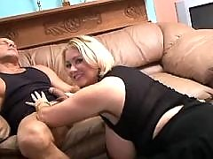 Plump mature greedily sucking cock