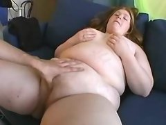 Sex hungry blond BBW fucked on sofa
