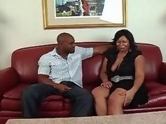 Chubby ebony sucking chocolate cock