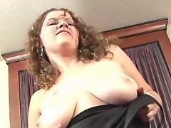 Curly plump girl caress all holes