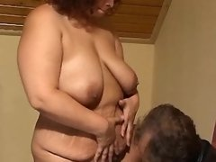 Mature plump maid slobbers big cock