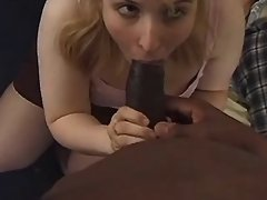 Fat blonde sucks big chocolate cock