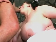 Chubby busty chick sucks n titfucks