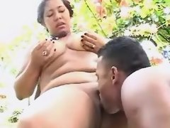Lewd black BBW sucks chocolate cock