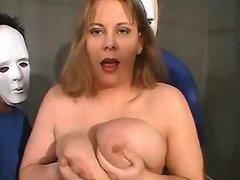 Three guys share sexy chubby mature