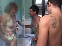 Fat mature seduces guys in bathroom