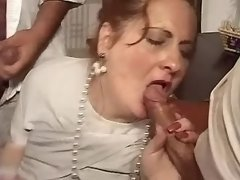 Crazy gangbang with fat mature lady