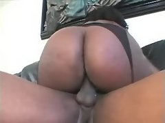 Obese ebony vixen jumping on cock