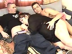 Large lady sucking cocks by turns