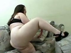 Lonely chubby babe dildoing herself