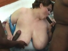 Busty fatty sucking two black dicks