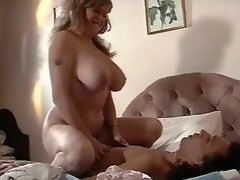 Blonde milf gets jizz on huge boobs
