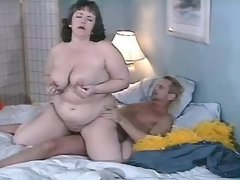 Chubby brunette fucks and gets jizz