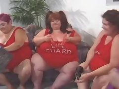 Monster fatty in wild lesbian orgy