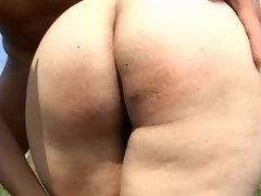 Young plumper sucks cock in nature