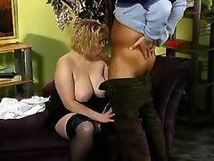 Busty chubby blonde sucks hard cock