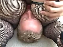 Blonde fatty sucks cock and licked